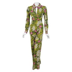 1970 Emilio Pucci Olive Green Floral Print Silk Jersey Belted Wrap Jumpsuit