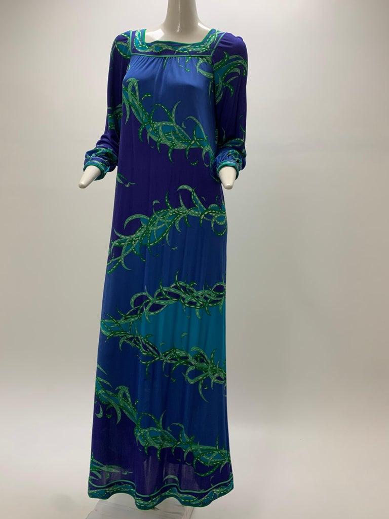 1970 Emilio Pucci Silk Jersey Print Maxi Dress  For Sale 8