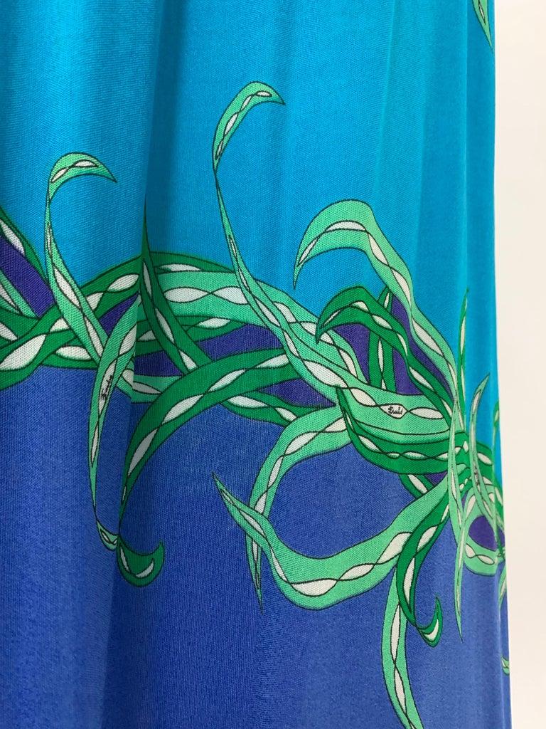 1970 Emilio Pucci Silk Jersey Print Maxi Dress  For Sale 1