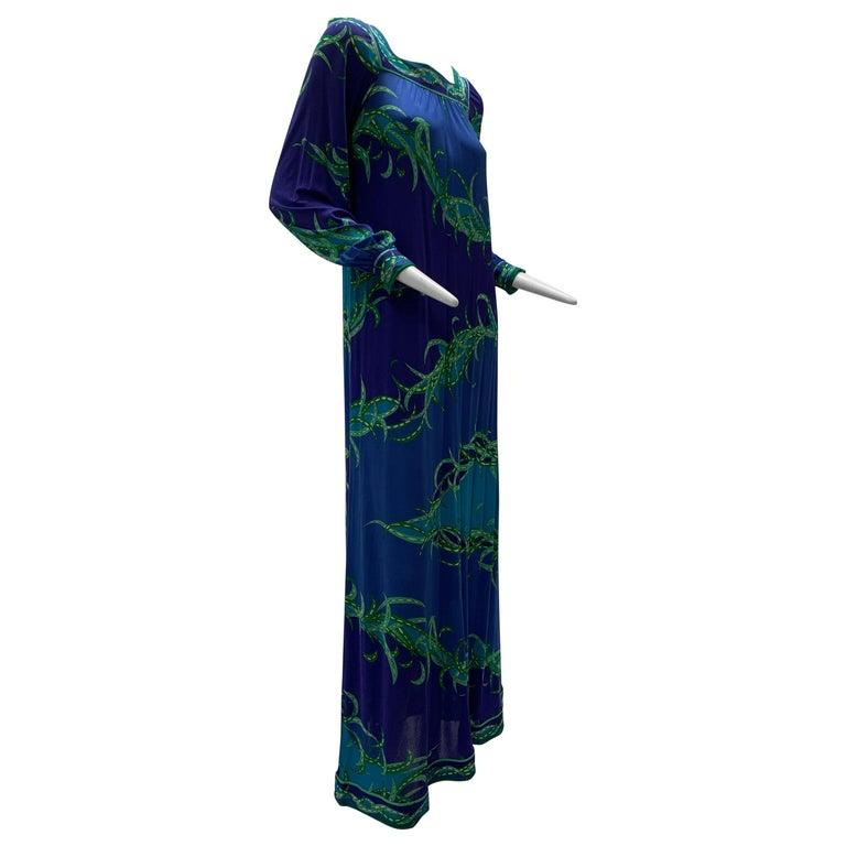 1970 Emilio Pucci Silk Jersey Print Maxi Dress  For Sale