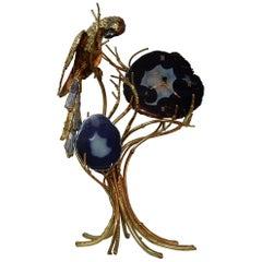 1970 Enlightening Clock with Parrot Fernandez or Duval Brasseur for Honore