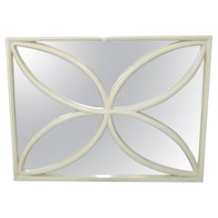 1970 Faux Bois Hand Carved Wood Wall Mirror Hollywood Regency Off-White, Italy
