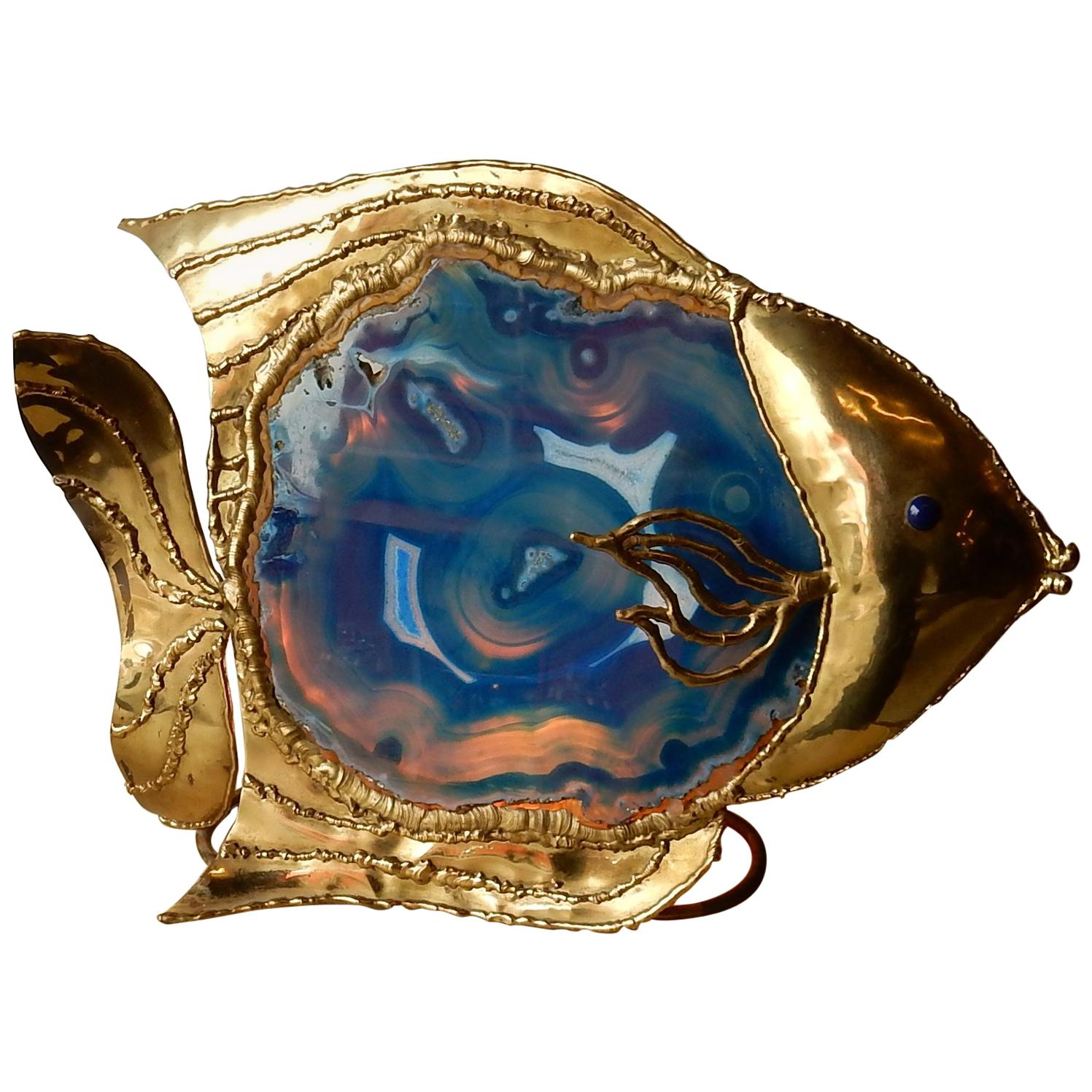 1970 Fish Lamp with Blue Agate Style Duval Brasseur Enlightening