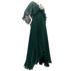 1970 Forest Green Silk Chiffon Accordion Pleated Halter Dress W/ Full Sweep Hem