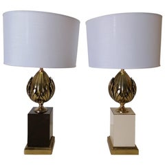 1970 French Midcentury Pair of Table Lamps in Maison Charles Style