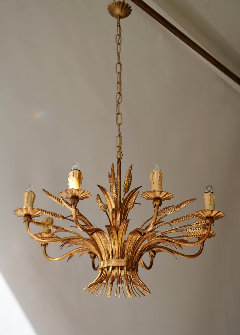 1970 French Tole Faux Palm Tree Eight-Light Chandelier For Sale 2