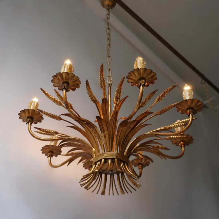 1970 French Tole Faux Palm Tree Eight-Light Chandelier For Sale 3
