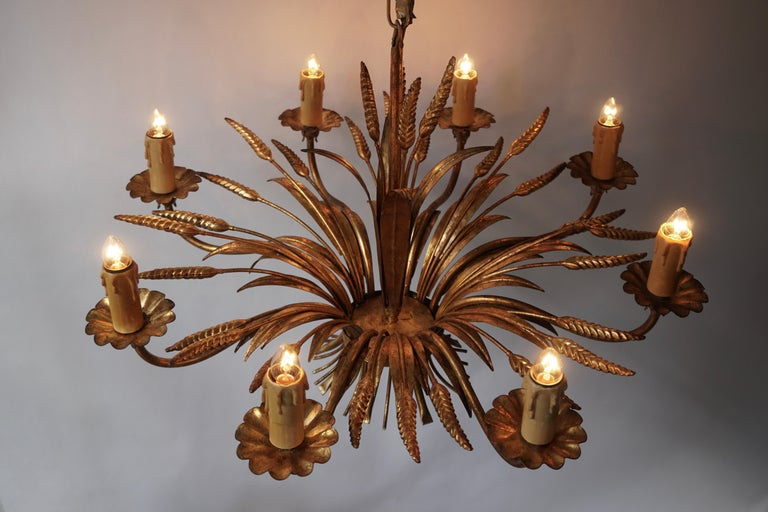 1970 French Tole Faux Palm Tree Eight-Light Chandelier For Sale 4
