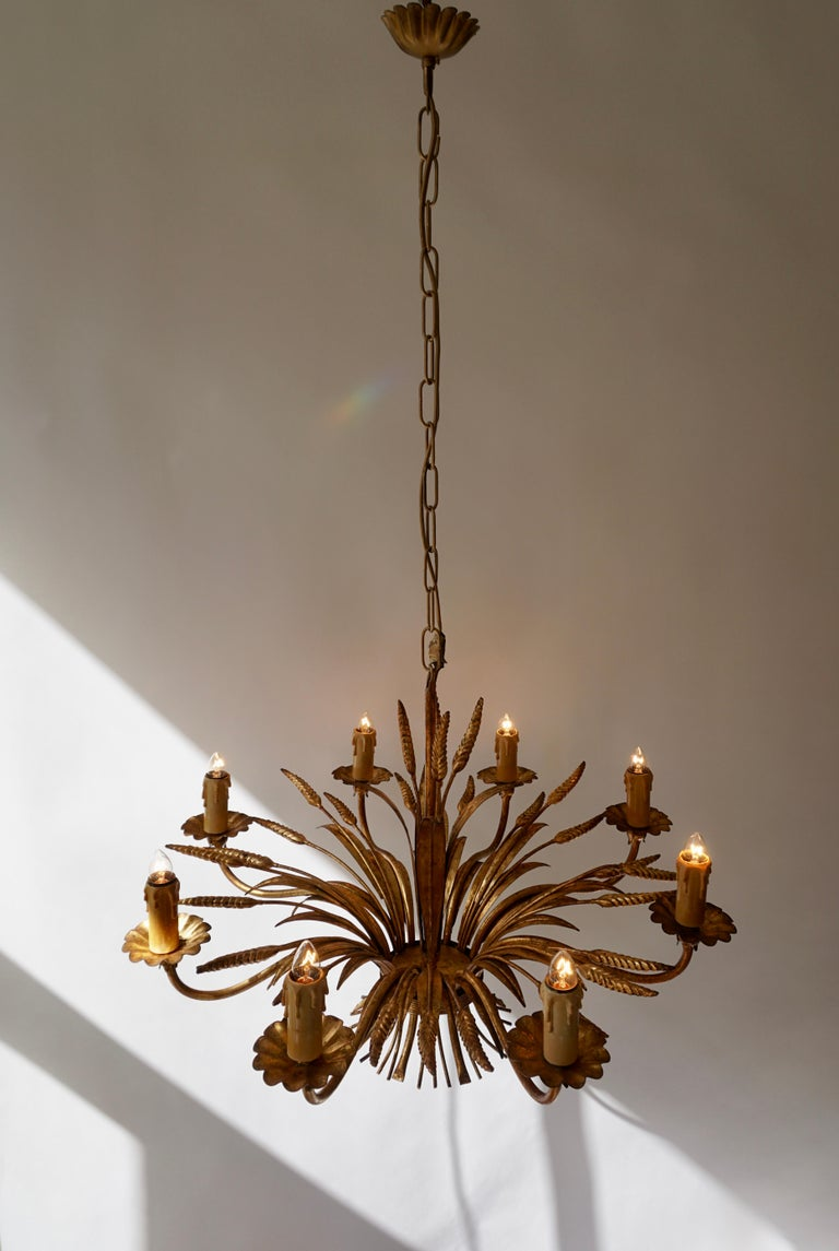 1970 French Tole Faux Palm Tree Eight-Light Chandelier For Sale 5