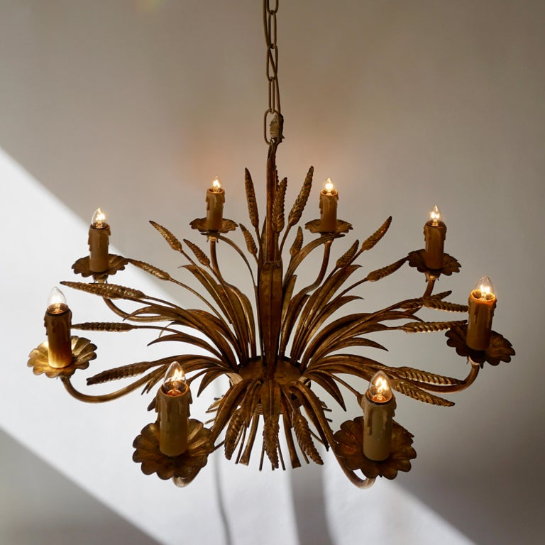1970 French Tole Faux Palm Tree Eight-Light Chandelier For Sale 6