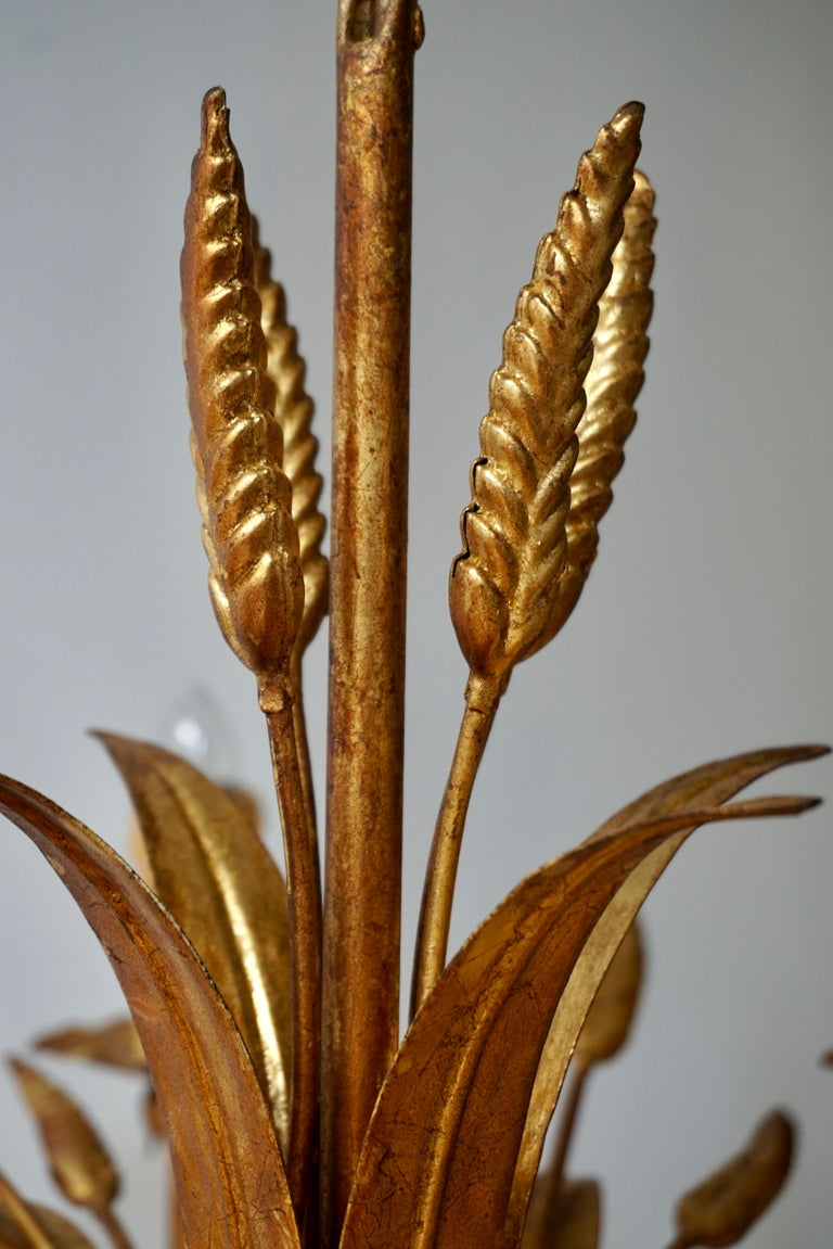 1970 French Tole Faux Palm Tree Eight-Light Chandelier For Sale 8