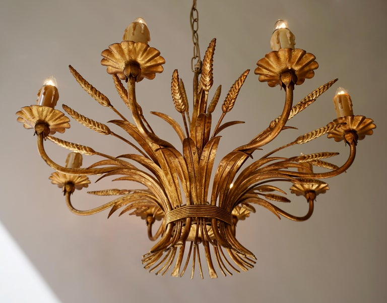 Italian 1970 French Tole Faux Palm Tree Eight-Light Chandelier For Sale
