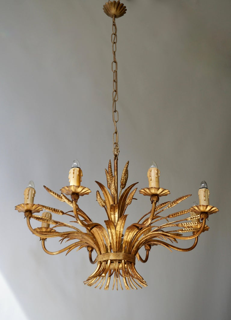 Gilt 1970 French Tole Faux Palm Tree Eight-Light Chandelier For Sale