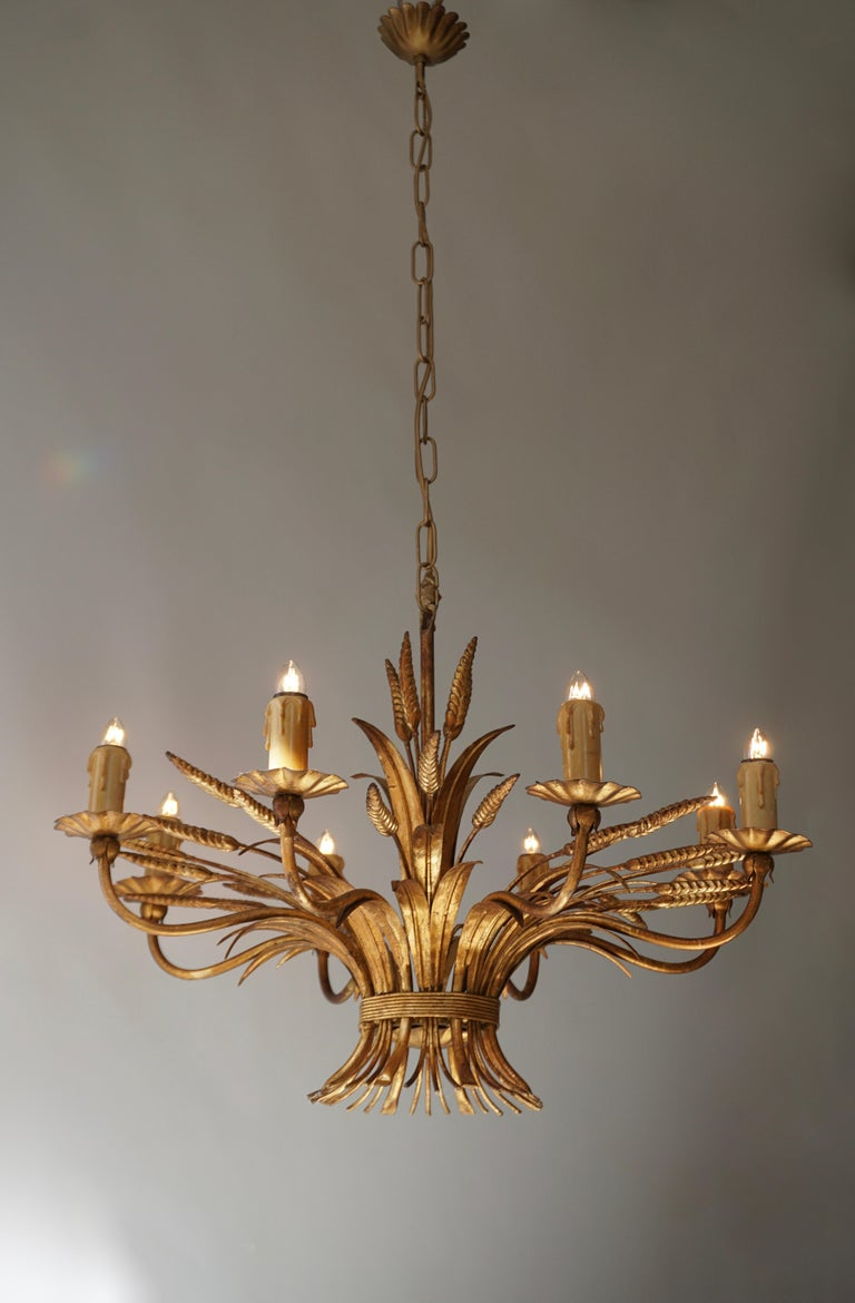 20th Century 1970 French Tole Faux Palm Tree Eight-Light Chandelier For Sale