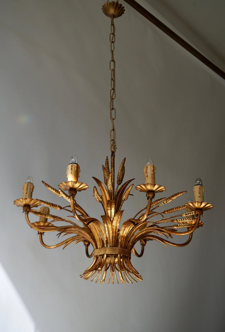 Brass 1970 French Tole Faux Palm Tree Eight-Light Chandelier For Sale