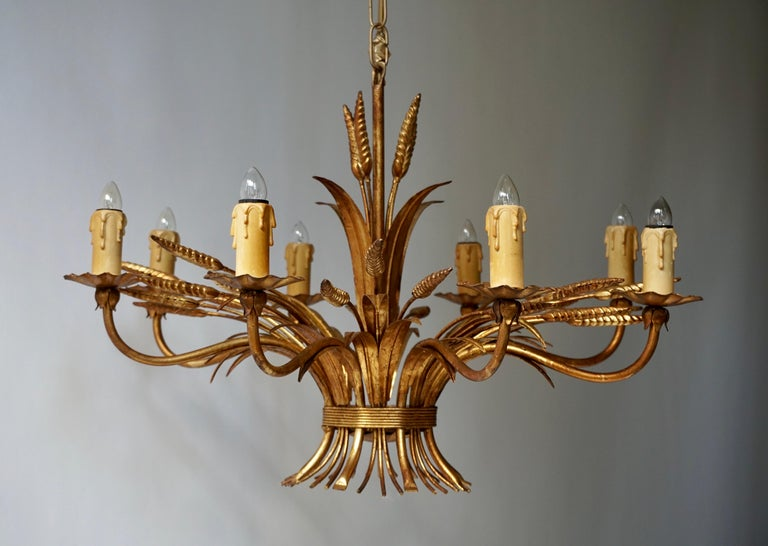 1970 French Tole Faux Palm Tree Eight-Light Chandelier For Sale 1