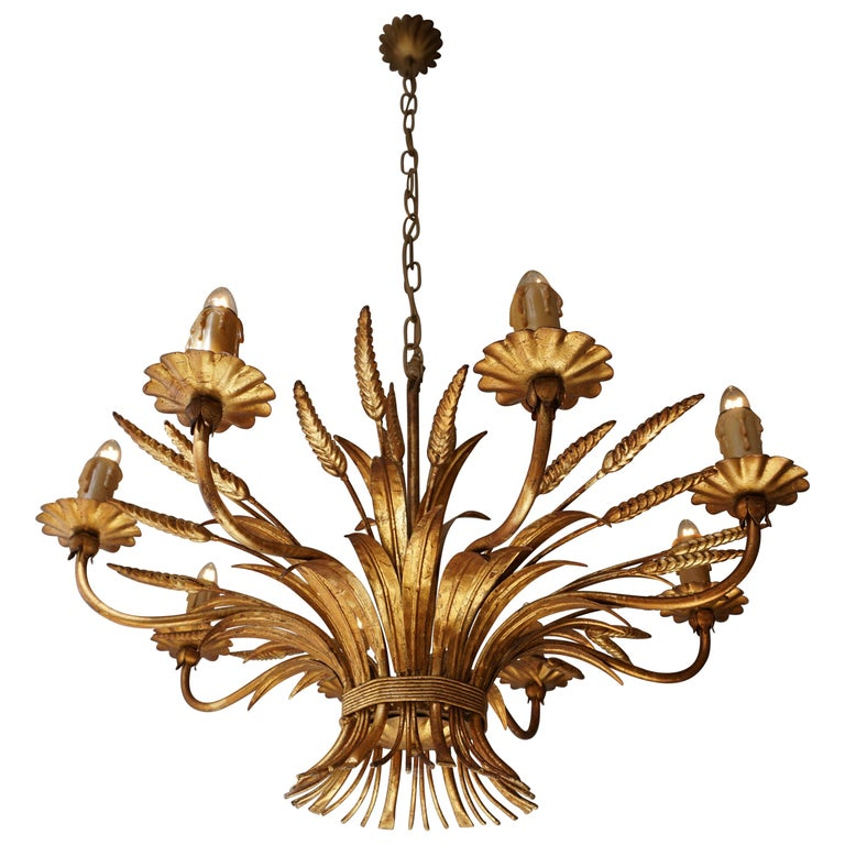 1970 French Tole Faux Palm Tree Eight-Light Chandelier For Sale