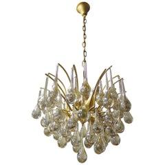 1970 Germany Palwa Tear Drop Chandelier Murano Glass and Brass
