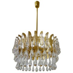 1970 Germany Palwa Tear Drop Chandelier Murano Glass & Gilt-Brass