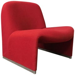1970, Giancarlo Piretti for Castelli, Italy, Red Fabric Alky Chair