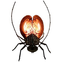 1970 Gilded Bronze Wall Lamp Cicada Style Duval Brasseur or IFaure Enlightening