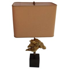 1970 Gilt Bronze Horse Head Decor Lamp in the Style of Duval Brasseur Unsigned