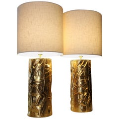 1970 Gold Ceramic Table Lamps, with Linen Lampshade