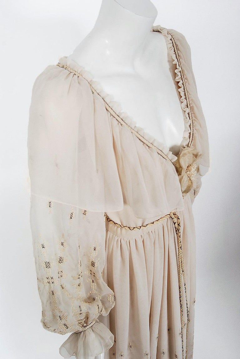 Beige Vintage 1970 Guy Laroche Couture Embroidered Silk Billow Sleeve Plunge Gown For Sale