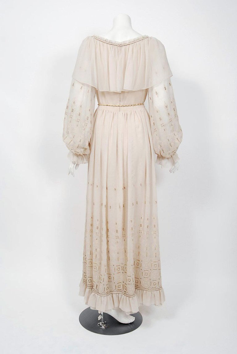 Vintage 1970 Guy Laroche Couture Embroidered Silk Billow Sleeve Plunge Gown For Sale 4