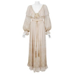 1970 Guy Laroche Haute-Couture Embroidered Beige Silk Billow Sleeve Plunge Gown