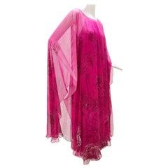 1970 Hanae Mori Silk Chiffon Fuchsia Pink Floral Print Illusion Kaftan
