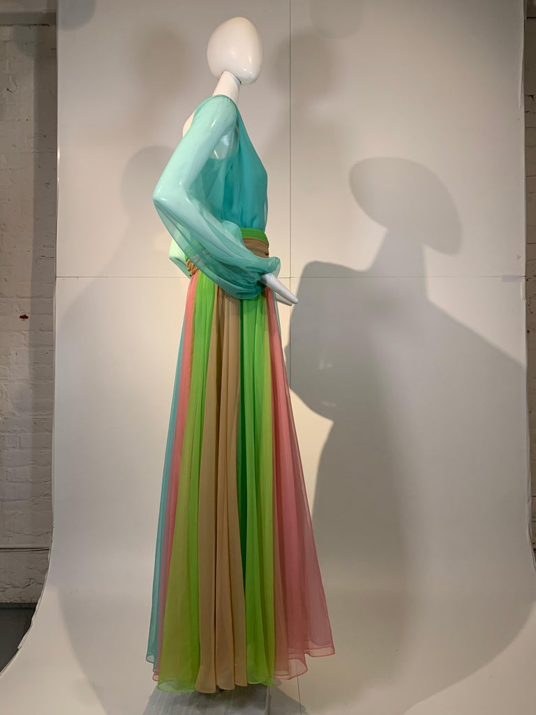 1970 Helen Rose Color Blocked Chiffon Gown In Robin's Egg Blue Pink & Chartreuse 5