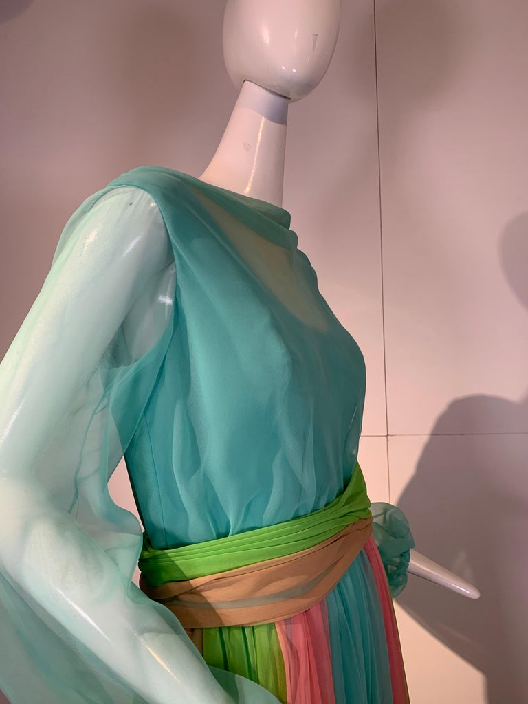1970 Helen Rose Color Blocked Chiffon Gown In Robin's Egg Blue Pink & Chartreuse 6