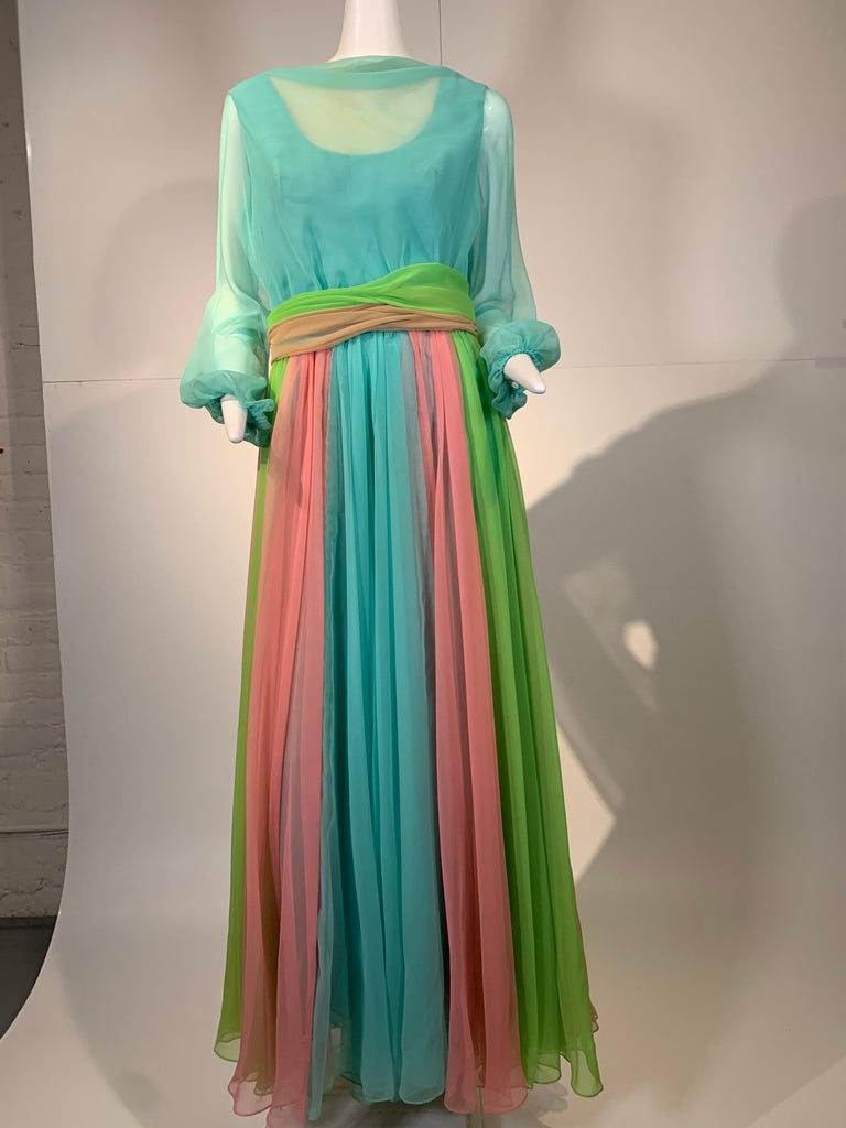 1970 Helen Rose Color Blocked Chiffon Gown In Robin's Egg Blue Pink & Chartreuse 7