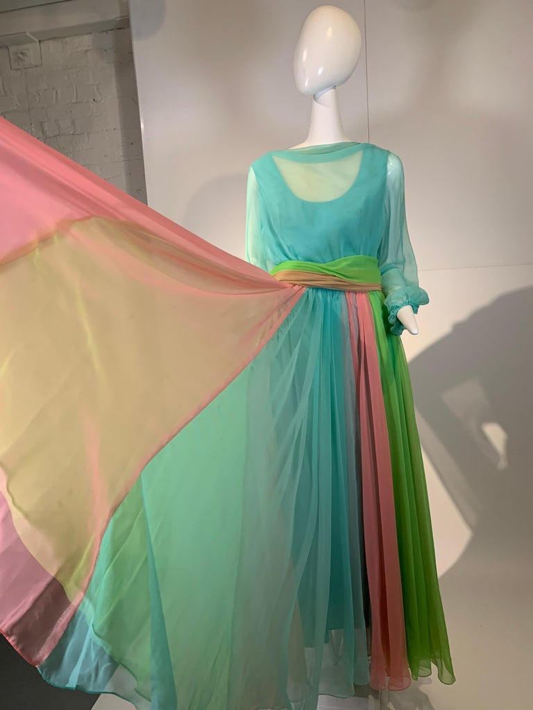 1970 Helen Rose Color Blocked Chiffon Gown In Robin's Egg Blue Pink & Chartreuse 8