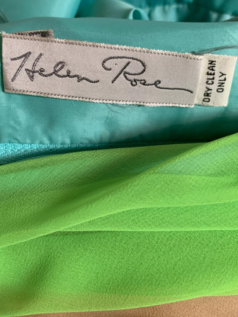 1970 Helen Rose Color Blocked Chiffon Gown In Robin's Egg Blue Pink & Chartreuse 9