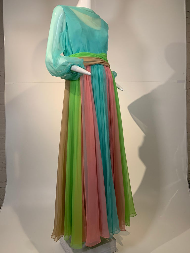 Gorgeous 1970s Helen Rose color-blocked chiffon gown in robin's egg blue, pink and chartreuse. Cummerbund-styled waist sash with buttons at back, bodice is a sheer overlay of chiffon with balloon sleeves. Lined skirt. Size 10.
