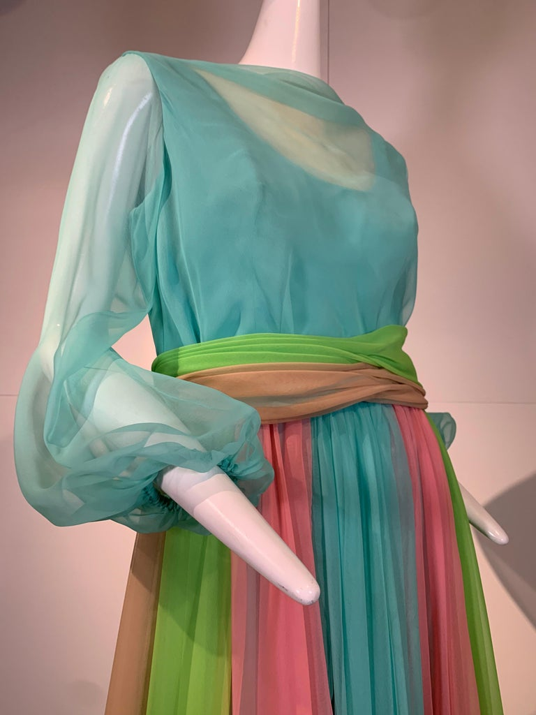 Gray 1970 Helen Rose Color Blocked Chiffon Gown In Robin's Egg Blue Pink & Chartreuse