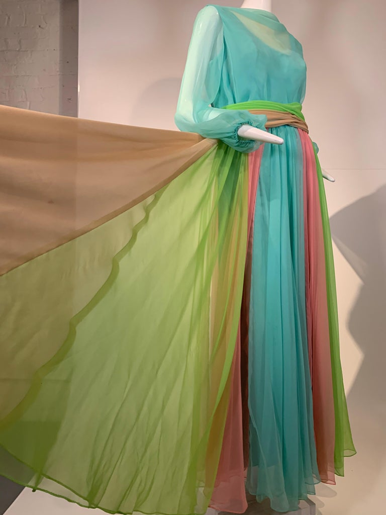 1970 Helen Rose Color Blocked Chiffon Gown In Robin's Egg Blue Pink & Chartreuse In Excellent Condition In San Francisco, CA