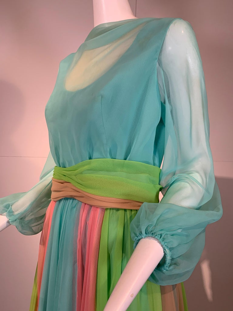 Women's 1970 Helen Rose Color Blocked Chiffon Gown In Robin's Egg Blue Pink & Chartreuse