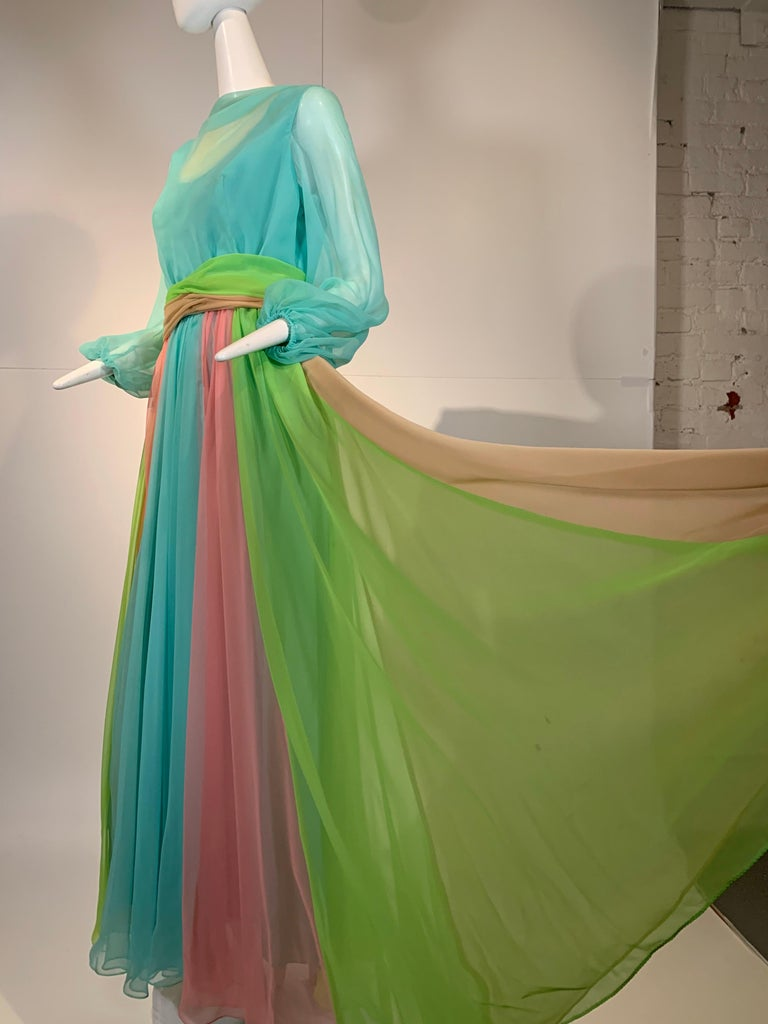 1970 Helen Rose Color Blocked Chiffon Gown In Robin's Egg Blue Pink & Chartreuse 1
