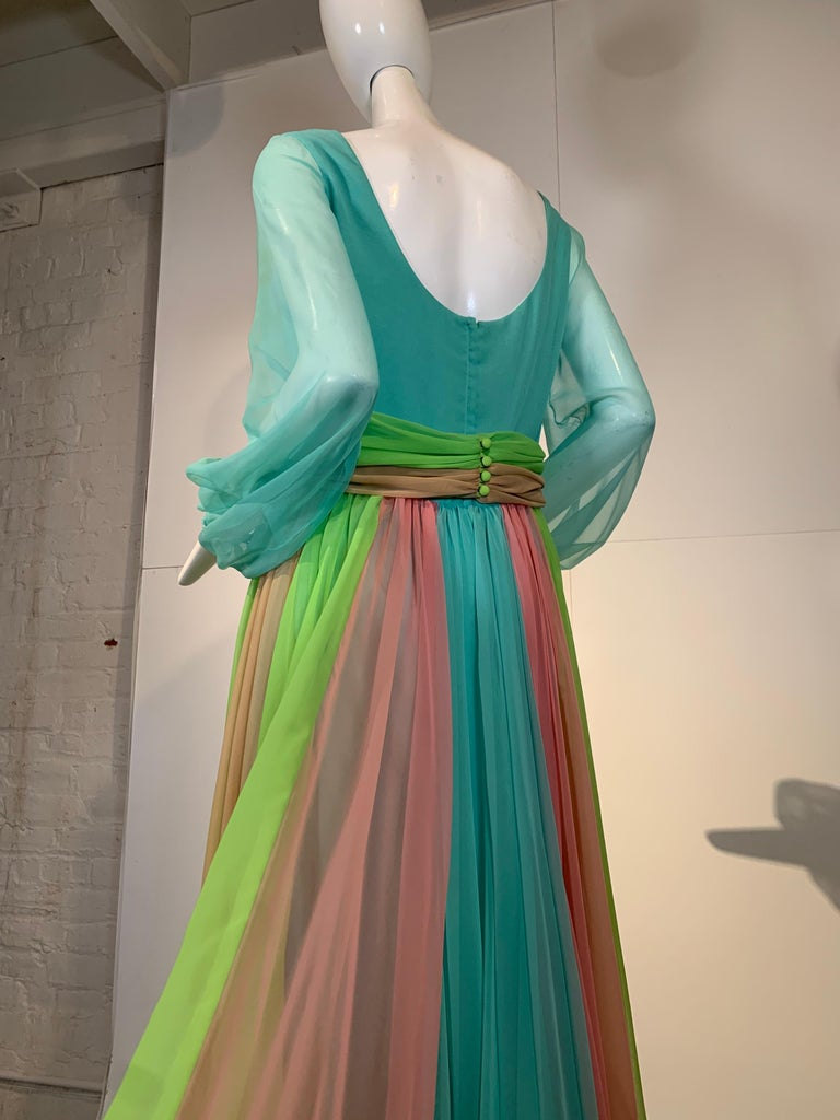 1970 Helen Rose Color Blocked Chiffon Gown In Robin's Egg Blue Pink & Chartreuse 3