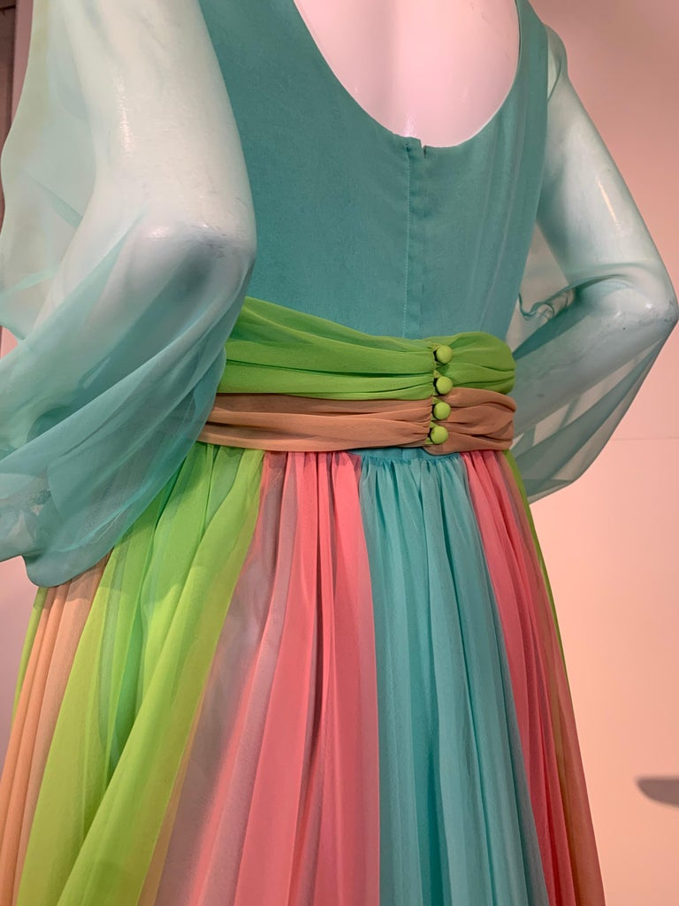 1970 Helen Rose Color Blocked Chiffon Gown In Robin's Egg Blue Pink & Chartreuse 4