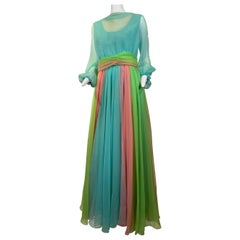 1970 Helen Rose Color Blocked Chiffon Gown In Robin's Egg Blue Pink & Chartreuse