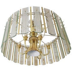 1970 Hollywood Regency Chandelier Brass and Glas