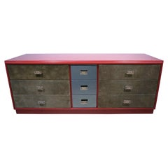 1970 Italian Green Leather Burgundy Lacquer Dresser with Mirror & Bronze Accents
