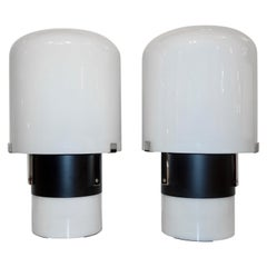 1970 Italian Minimalist Pair of Black White Glass Double-Lit Lucite Modern Lamps