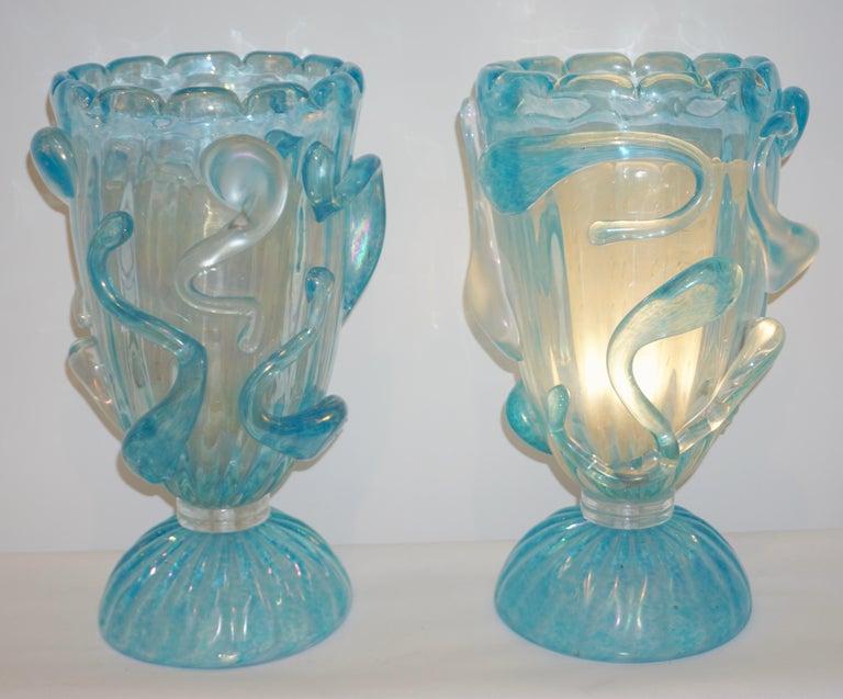 1970 Italian Modern Pair of Vintage Aquamarine Sea Blue Murano Glass Table Lamps For Sale 8