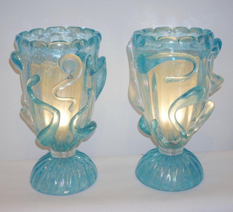 1970 Italian Modern Pair of Vintage Aquamarine Sea Blue Murano Glass Table Lamps For Sale 9
