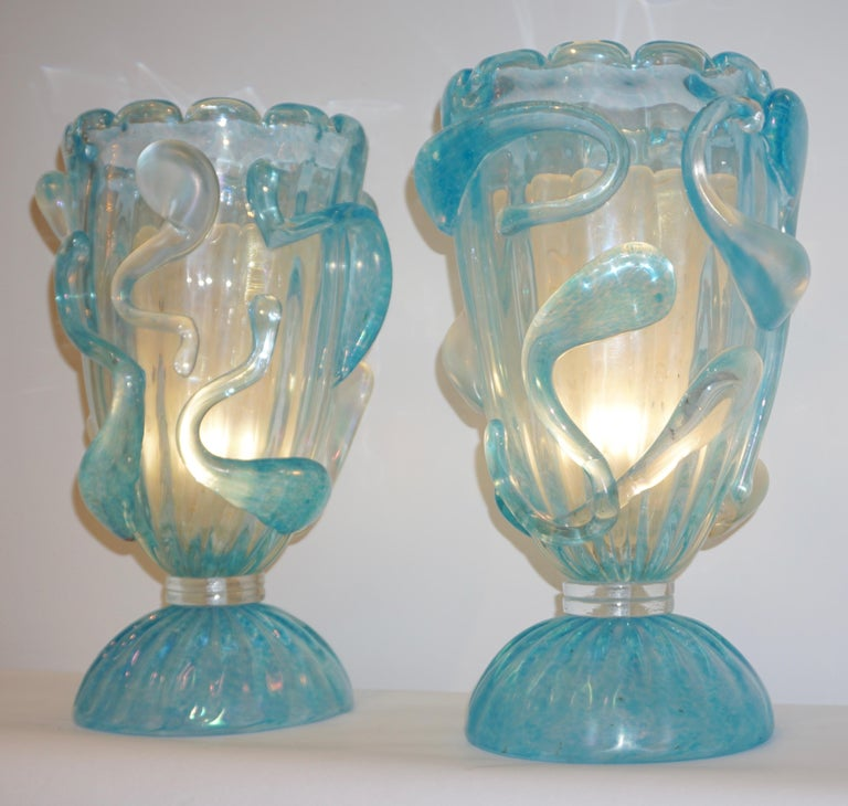 Blown Glass 1970 Italian Modern Pair of Vintage Aquamarine Sea Blue Murano Glass Table Lamps For Sale